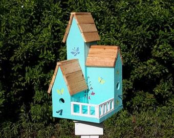 Turquoise Condo Birdhouse, Handmade Cyprus Birdhouse, Large Wooden Birdhouse, Garden Decor