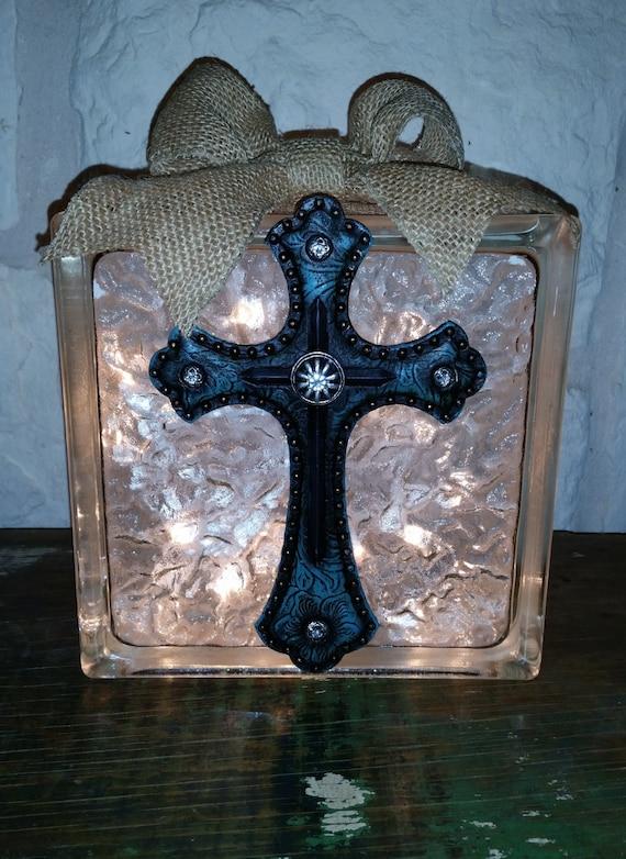 Decorative Light Blocks : Decorative glass block light blue western cross