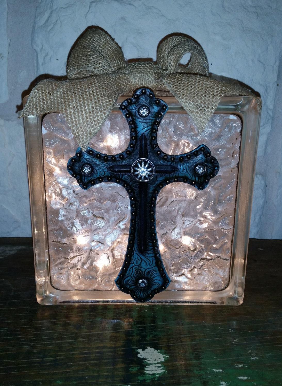Decorative glass block light blue western cross for Designer glass block