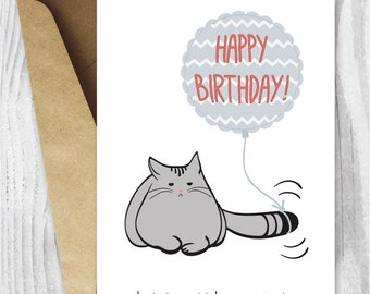 Birthday Card, Printable Birthday Card, Funny Cat Birthday Card, Grumpy Cat Card, Printable Cat Card, Instant Download, Digital Card