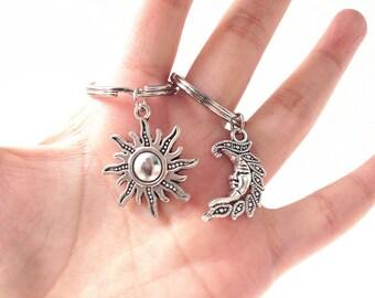 Sun and moon keychain,Couples keychain,Friendship keychain, BFF keychain