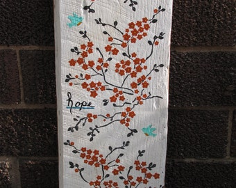 Modern Art, Rustic hand painted bird scene Faith Hope and Love on Antique Barn Wood distressed