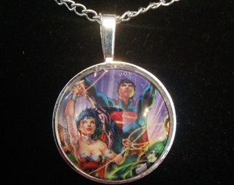 DC Wonder Woman and Superman Pendant