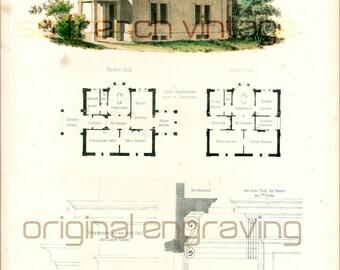 1854 Roman Villa blueprints, Architectural antique print, large size A3, antique engraving, architectural details, gift for archi student