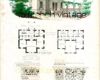 1854 Hôtel privé in a Renaissance style, Architectural antique blueprint, large size A3, antique engraving, architectural details, Wall Art