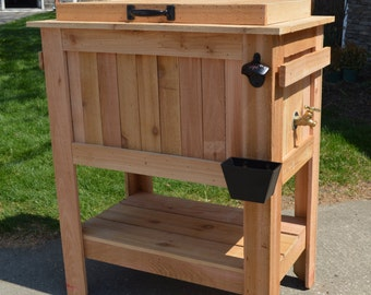 Rustic Ice Chest Cooler Stand With Brass Drain, Bottle Opener