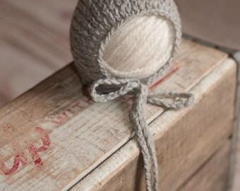 Grey Knit Newborn Bonnet, Newborn Pixie Bonnet, Newborn Knit Hat, Photo Prop 39 COLORS