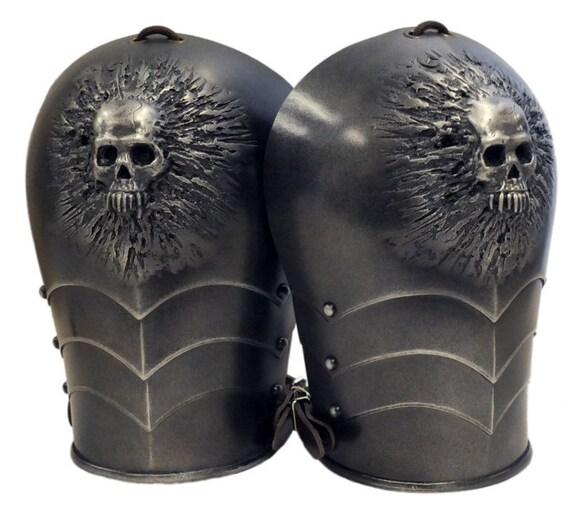 Larp Armour Skull Spaudlers, shoulders, pauldrons, spalders, SCA, larp, cosplay
