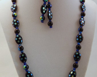 Black, Purple and Blue Pokadot Necklace and Earring Set