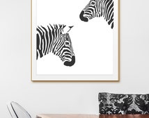Animal Wall Art, Animal Black and White Prints. Zebra Black and White Print,