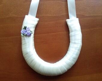 Wedding horse shoe ivory satin. Lucky horseshoe.  Good luck horse shoe