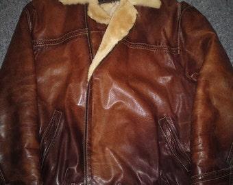 Veteran - men's leather & fur bomber jacket (Free shipping)