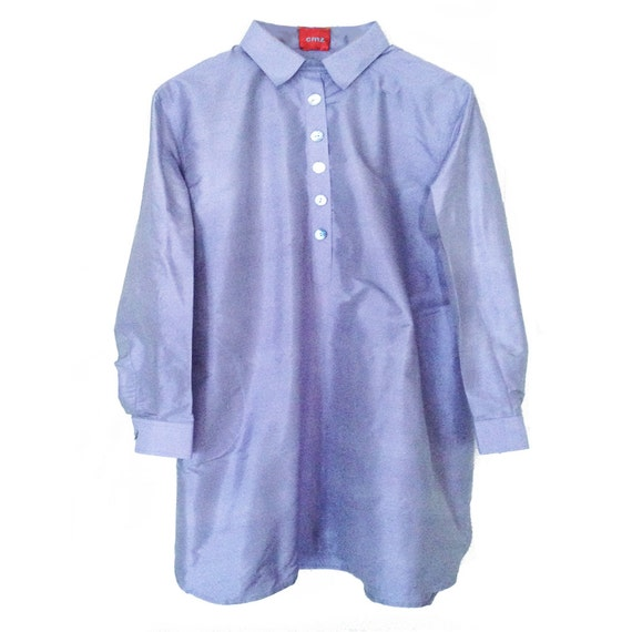 VioletBlue.Q. Pure Silk. Mother pearl buttons. Handmade. Ribbons inside. cmz collection. cmz.