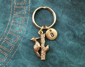 Woodpecker Keychain VERY SMALL Woodpecker Keyring Personalized Keychain Gold Keychain Bird Keychain Woodpecker Gift Wildlife Gift Bird Gift