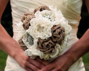 Burlap Wedding Bouquet | Rustic Wedding | Rustic Wedding Bouquet | Rustic Fabric Bouquet | Country Wedding Flowers | Rustic Wedding Decor