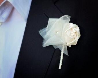 Set of 5 Ivory Boutonniere | Fabric Flower Boutonniere | Wedding Boutonniere | Groom's Boutonniere | Rustic Wedding Boutonniere