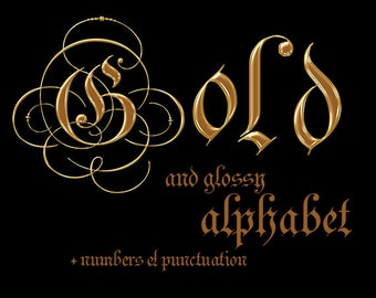 Gold glossy digital alphabet clipart, golden printable font with capital and small letters, numbers and punctuation; for commercial use