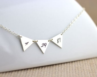 Special Date Necklace - banner necklace, triangle necklace, triangle jewelry, Geometric necklace