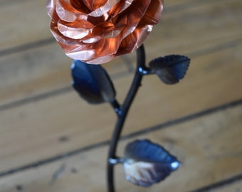 Hand forged copper and wrought iron metal rose