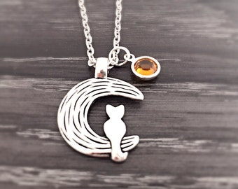 Cat on the Moon Necklace with Swarovski Birthstone, Cat Necklace, Moon Jewelry, Custom Necklace, Moon Necklace, Pet Jewelry, Cat Lover Gift