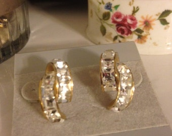 Vintage 1960's Gold Plated Half Circle Dazzling Clear Channel Set Square Crystal Rhinestone Stone Pierced Ear Earrings