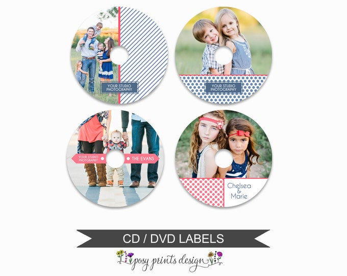 DVD CD Labels - Set of 4 - Template for Photographers - Digital Photoshop Template - Dots and Stripes