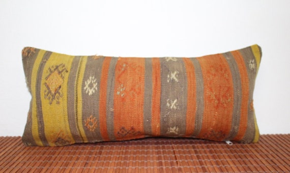 "Hand made anatolian kilim pillow case,vintage kilim pillow,pillow cover,designer pillow,antique kilim10""1/2X24""1/2pillow-R38"