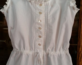 Handmade Victorian-Type Vintage Style Chemise/Summer top -- Made to Order White or Ivory