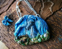 Water dragon necklace, water dragon sculpture necklace , pearl necklace, aquatic dragon, freshwater  pearls