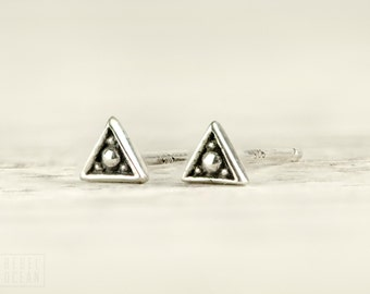 Silver Stud Earrings Sterling Silver Triangle Earrings Bohemian Jewelry - CST002SS T1