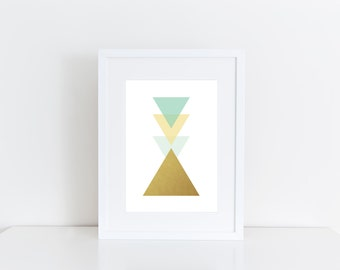 Triangle -  Geometric art, Printable art , Instant download , gold