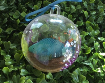 Teal Fish Ornament - Summer Ornament - Christmas Ornament