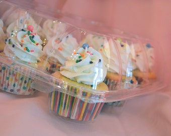 4 Clear plastic hinged dome cupcake containers - Holds 12 regular cupcakes