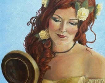 Camille- Original Oil Painting Woman - with Red Hair