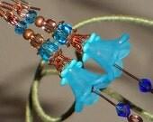 Flower Earrings, Aqua Earrings, Bell Flower Dangle Earrings, Copper And Aqua Flower Earring, Copper And Turquoise, Boho BOTANICAL Collection