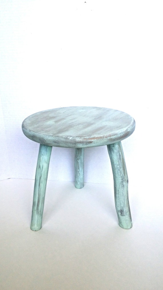 Wooden Stool Distressed Painted Stool Shabby Chic Decor