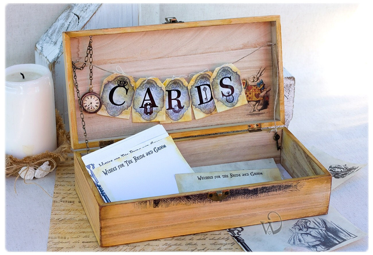 Alice in wonderland wedding card box Wedding Advice Box – Wedding Card Keepsake Box