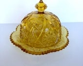 Amber Glass Round Covered Butter Dish Cheese Cloche or Dome in Yutec-Amber by Kemple