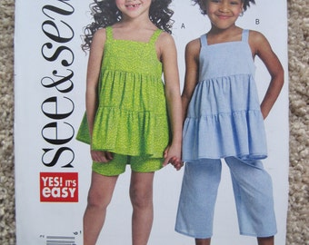 UNCUT Girls Top, Shorts and Pants - Size 2 to 8 - Butterick Sewing Pattern B5009