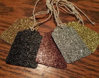 Glitter tags, gift tags, glitter gift tags, gold, silver, bronze, black glitter tags, present tags, gold twine