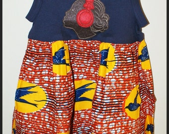 Girls African Bird Wax Print Dress with Brown-Girl Felt Applique