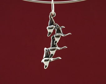 Flying Geese Pendant in 925 Sterling Silver