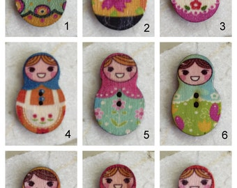 Wooden Matryoshka Doll Buttons, Russian Nesting Doll Buttons - Set of 6
