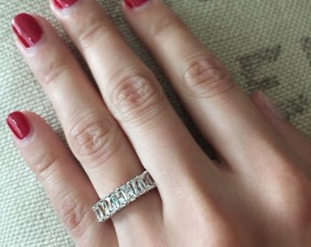 Radiant Cut Sterling Silver Eternity Band | Radiant cut cubic zirconia surround this sterling silver eternity band. Stack it or wear solo!