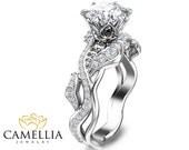 Moissanite Leaf Engagement Ring Unique 14K White Gold Moissanite Ring Diamonds Leaf Engagement Ring