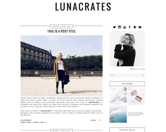 Premade Blogger Template - Instant Download - Lunacrates - Blogger Template - blogger theme - blog design - blogger blog template