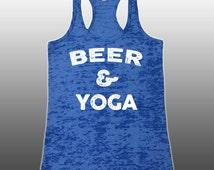 Beer & YOGA Burnout Tank Top. Funny Yoga Tank.