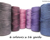 Waxed polyester cord, set of 6 colours x 16 yards, pink, purple, azul, violet, bright pink, aubergine, egg plant, purple grey, macrame cord