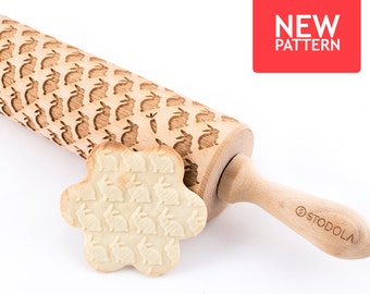 Rabbits - Embossed, engraved rolling pin for cookies
