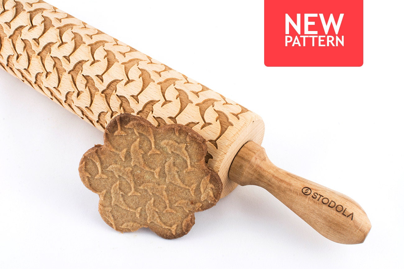 dolphins embossed engraved rolling pin for cookies. Black Bedroom Furniture Sets. Home Design Ideas